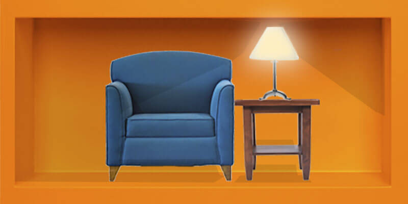 There is a table with lamp on it next to a chair, the lamp turns on when you hover over the box with your mouse. If you hover over it there is another orange box next to it that says: 'Do I really need an attorney?' There is a video link to the answer.