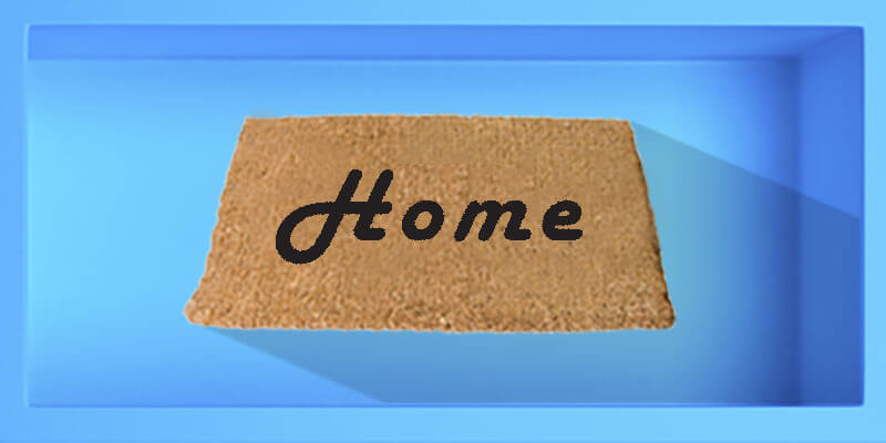 This box shows a welcome mat, when you hover over it with your mouse, the word 'welcome' changes into 'home'. If you hover over it, there is another blue box next to it that says: 'What's this site all about?' There is a video link to the answer.